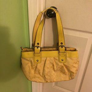 Yellow medium authentic coach purse